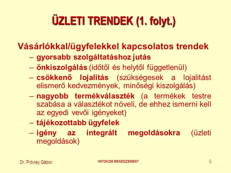 Dr. Prónay Gábor INFOKOM MENEDZSMENT 6 ÜZLETI TRENDEK (1. folyt.) Vásárlókkal/ügyfelekkel kapcsolatos trendek –gyorsabb szolgáltatáshoz jutás –önkiszo