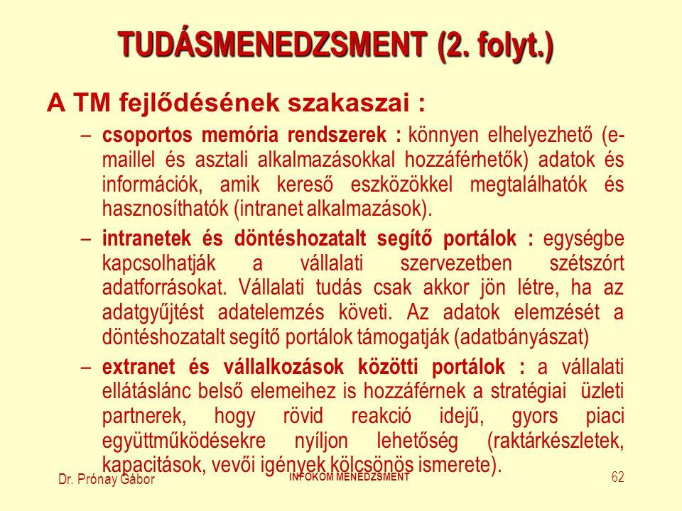 Dr. Prónay Gábor INFOKOM MENEDZSMENT 62 TUDÁSMENEDZSMENT (2. folyt.) A TM fejlődésének szakaszai : – csoportos memória rendszerek : könnyen elhelyezhe