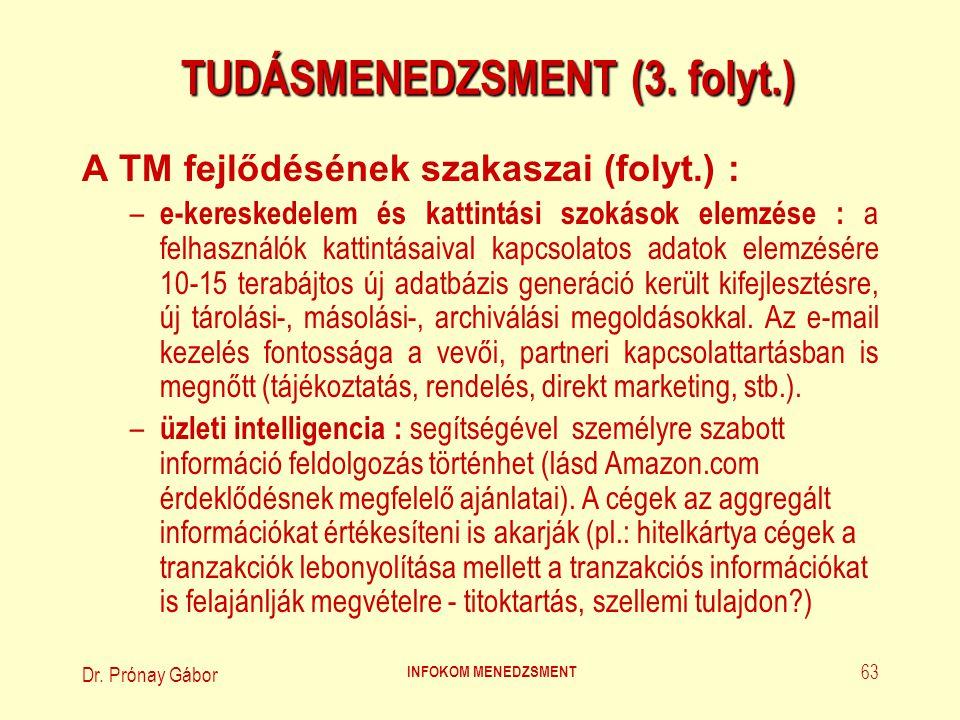 Dr. Prónay Gábor INFOKOM MENEDZSMENT 63 TUDÁSMENEDZSMENT (3. folyt.) A TM fejlődésének szakaszai (folyt.) : – e-kereskedelem és kattintási szokások el