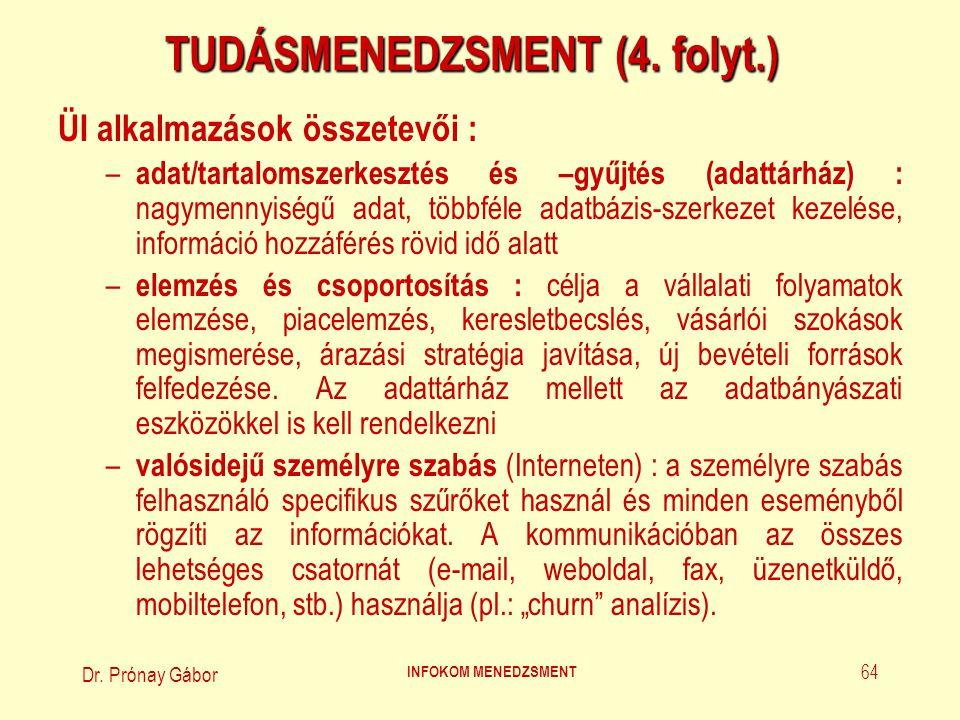 Dr. Prónay Gábor INFOKOM MENEDZSMENT 64 TUDÁSMENEDZSMENT (4. folyt.) ÜI alkalmazások összetevői : – adat/tartalomszerkesztés és –gyűjtés (adattárház)