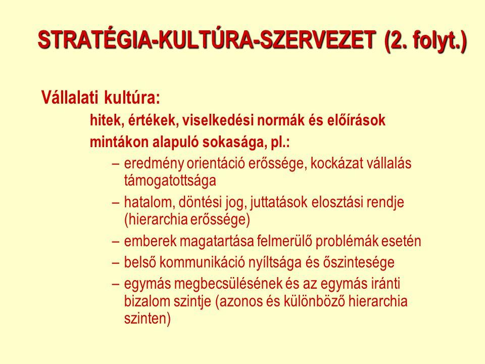 STRATÉGIA-KULTÚRA-SZERVEZET (2. folyt.) Vállalati kultúra: hitek, értékek, viselkedési normák és előírások mintákon alapuló sokasága, pl.: –eredmény o