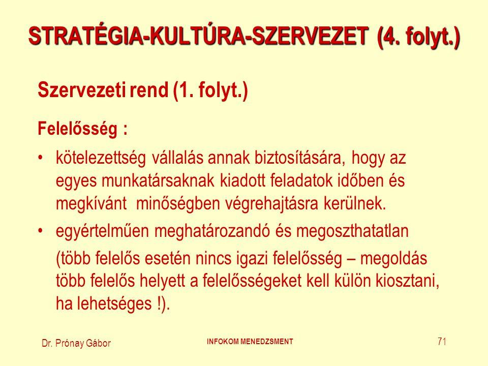 Dr. Prónay Gábor INFOKOM MENEDZSMENT 71 STRATÉGIA-KULTÚRA-SZERVEZET (4. folyt.) Szervezeti rend (1. folyt.) Felelősség : kötelezettség vállalás annak