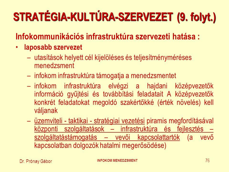 Dr. Prónay Gábor INFOKOM MENEDZSMENT 76 STRATÉGIA-KULTÚRA-SZERVEZET (9. folyt.) Infokommunikációs infrastruktúra szervezeti hatása : laposabb szerveze