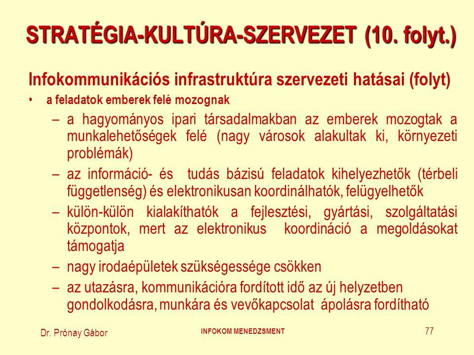 Dr. Prónay Gábor INFOKOM MENEDZSMENT 77 STRATÉGIA-KULTÚRA-SZERVEZET (10. folyt.) Infokommunikációs infrastruktúra szervezeti hatásai (folyt) a feladat