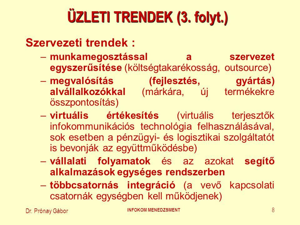 Dr. Prónay Gábor INFOKOM MENEDZSMENT 8 ÜZLETI TRENDEK (3. folyt.) Szervezeti trendek : –munkamegosztással a szervezet egyszerűsítése (költségtakarékos
