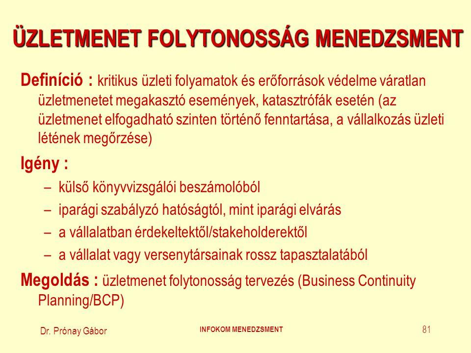 Dr. Prónay Gábor INFOKOM MENEDZSMENT 81 ÜZLETMENET FOLYTONOSSÁG MENEDZSMENT Definíció : kritikus üzleti folyamatok és erőforrások védelme váratlan üzl