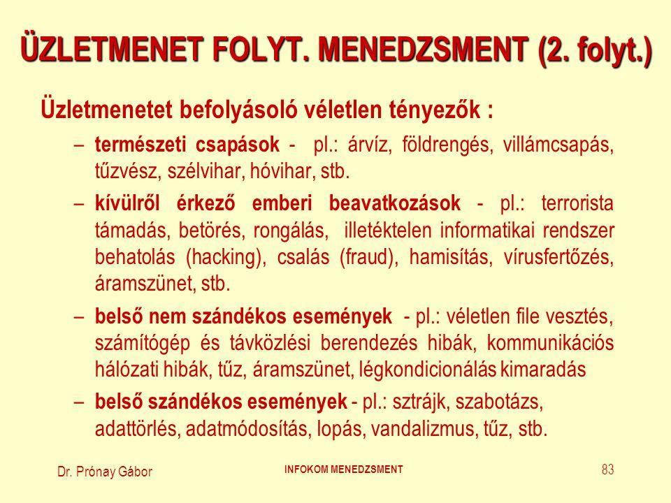 Dr. Prónay Gábor INFOKOM MENEDZSMENT 83 ÜZLETMENET FOLYT. MENEDZSMENT (2. folyt.) Üzletmenetet befolyásoló véletlen tényezők : – természeti csapások -