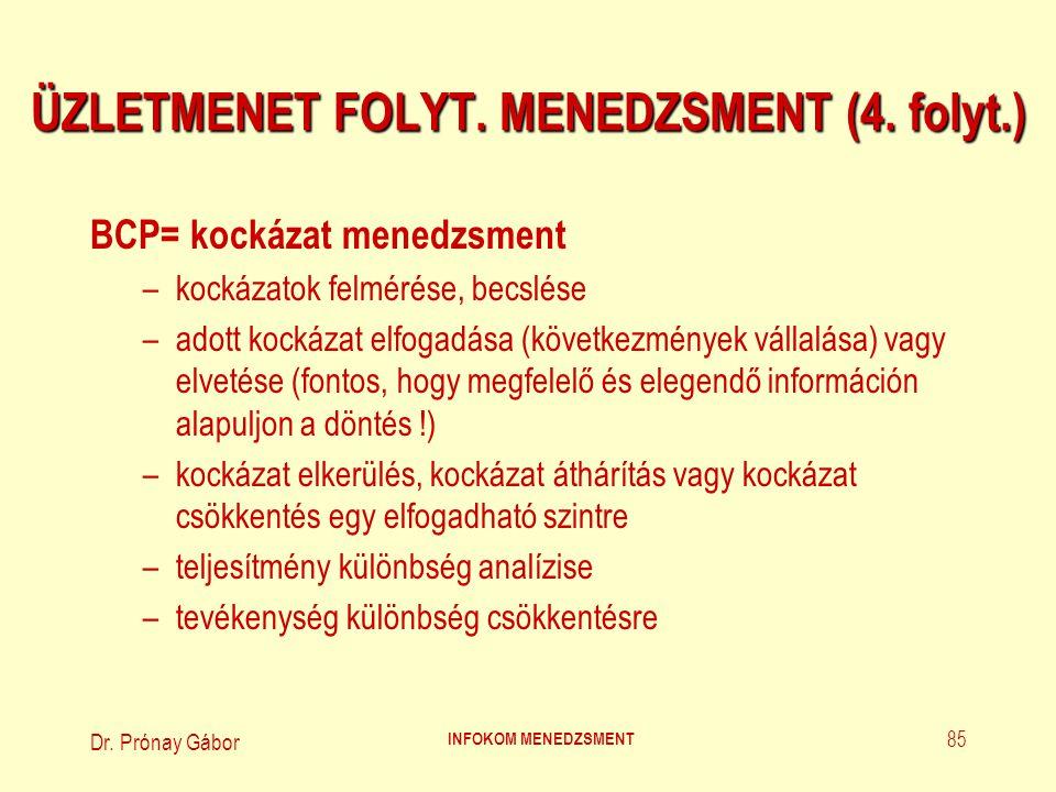 Dr. Prónay Gábor INFOKOM MENEDZSMENT 85 ÜZLETMENET FOLYT. MENEDZSMENT (4. folyt.) BCP= kockázat menedzsment –kockázatok felmérése, becslése –adott koc