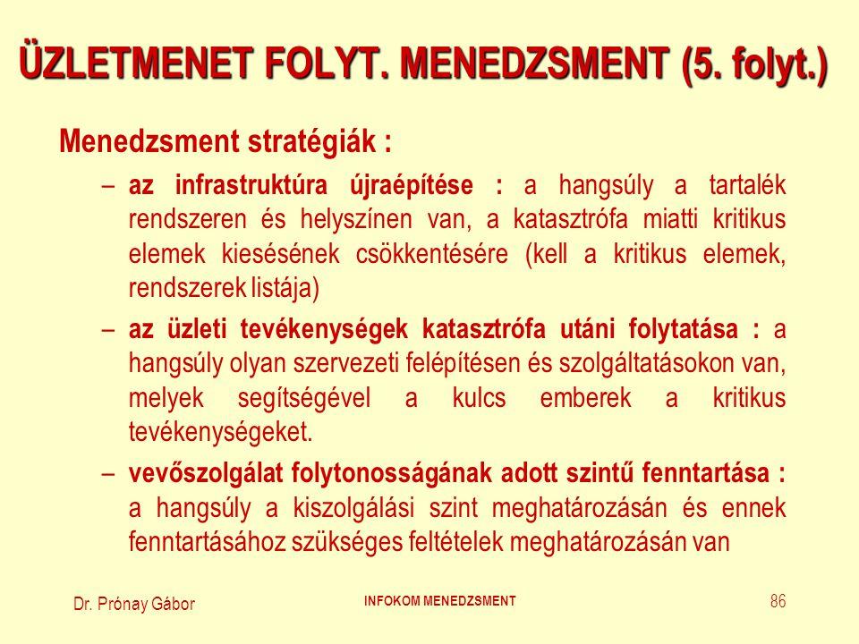 Dr. Prónay Gábor INFOKOM MENEDZSMENT 86 ÜZLETMENET FOLYT. MENEDZSMENT (5. folyt.) Menedzsment stratégiák : – az infrastruktúra újraépítése : a hangsúl