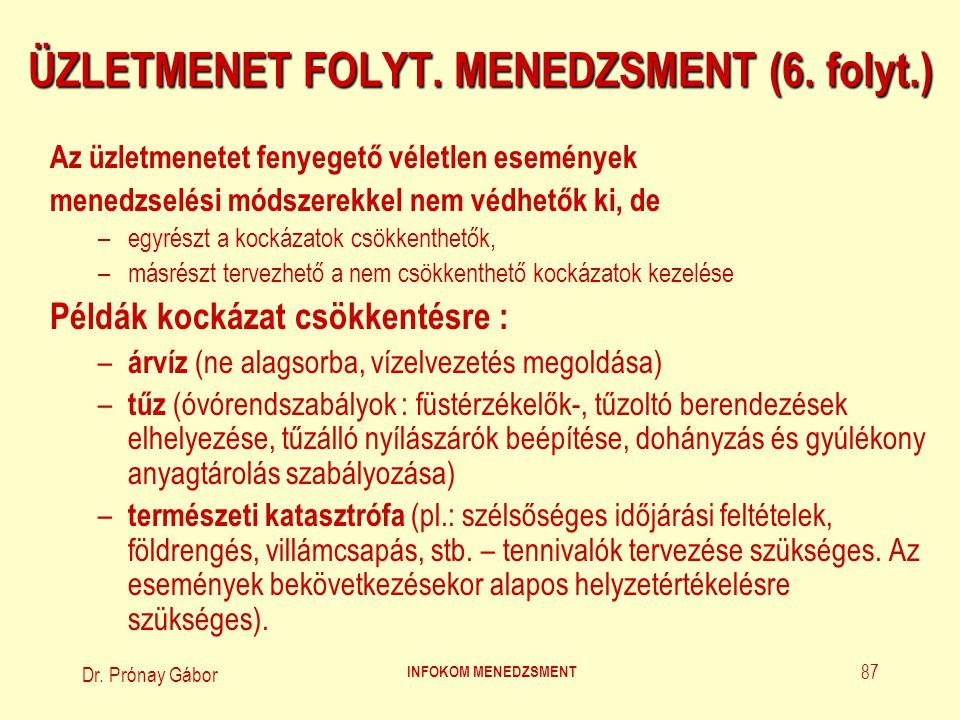 Dr. Prónay Gábor INFOKOM MENEDZSMENT 87 ÜZLETMENET FOLYT. MENEDZSMENT (6. folyt.) Az üzletmenetet fenyegető véletlen események menedzselési módszerekk
