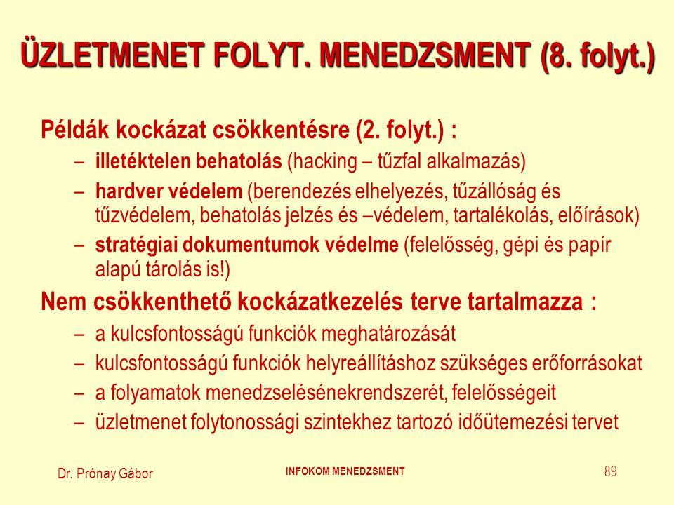 Dr. Prónay Gábor INFOKOM MENEDZSMENT 89 ÜZLETMENET FOLYT. MENEDZSMENT (8. folyt.) Példák kockázat csökkentésre (2. folyt.) : – illetéktelen behatolás