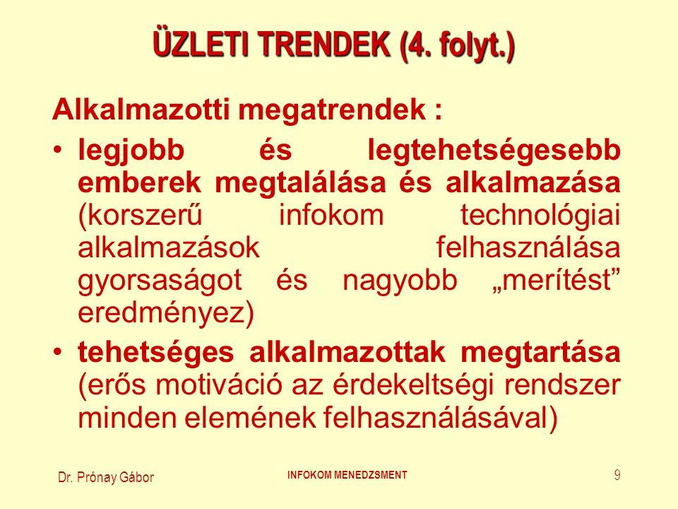 Dr. Prónay Gábor INFOKOM MENEDZSMENT 9 ÜZLETI TRENDEK (4. folyt.) Alkalmazotti megatrendek : legjobb és legtehetségesebb emberek megtalálása és alkalm