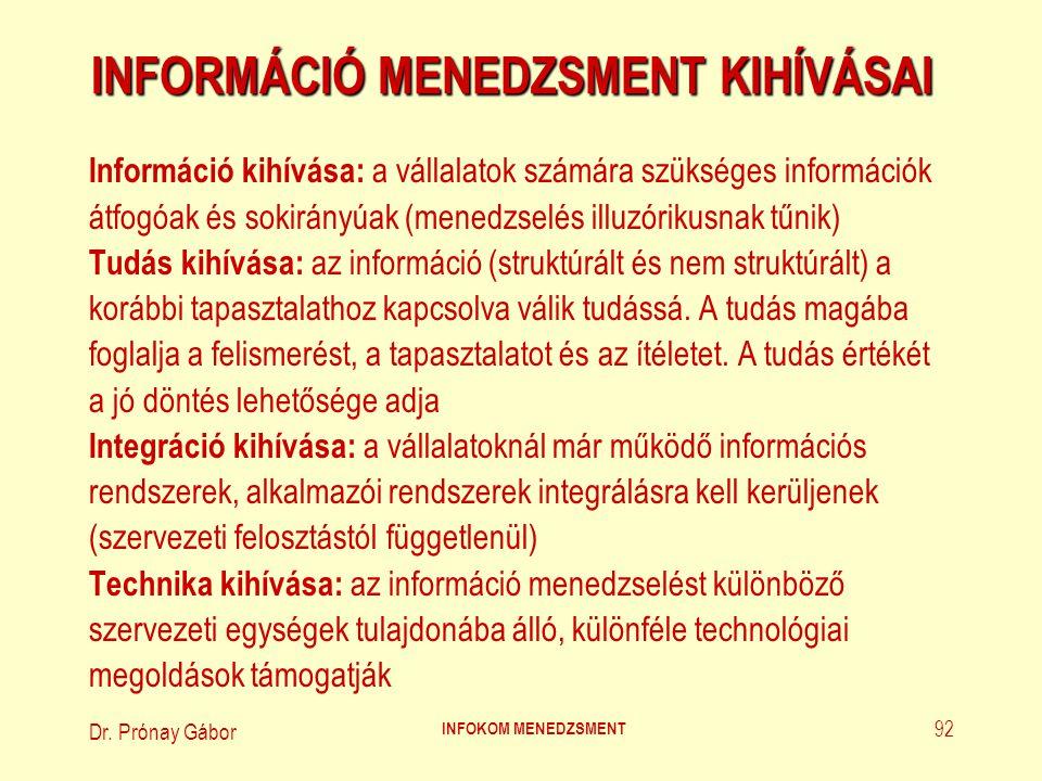 Dr. Prónay Gábor INFOKOM MENEDZSMENT 92 INFORMÁCIÓ MENEDZSMENT KIHÍVÁSAI Információ kihívása: a vállalatok számára szükséges információk átfogóak és s