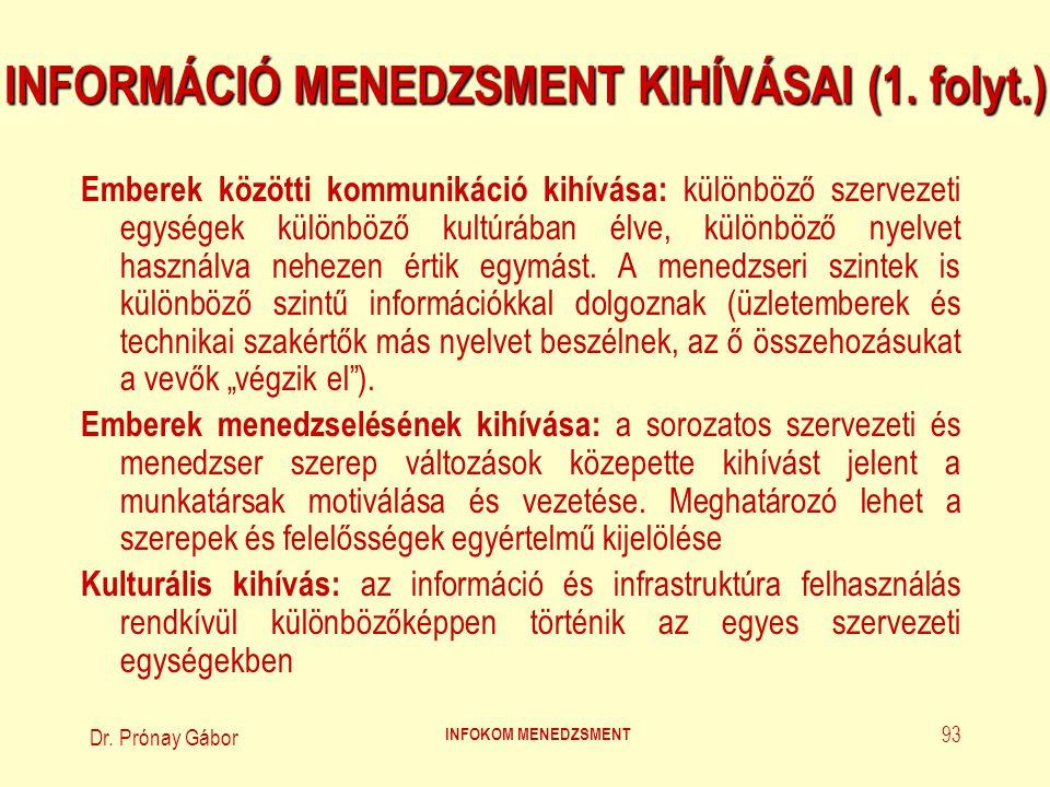Dr. Prónay Gábor INFOKOM MENEDZSMENT 93 INFORMÁCIÓ MENEDZSMENT KIHÍVÁSAI (1. folyt.) Emberek közötti kommunikáció kihívása: különböző szervezeti egysé
