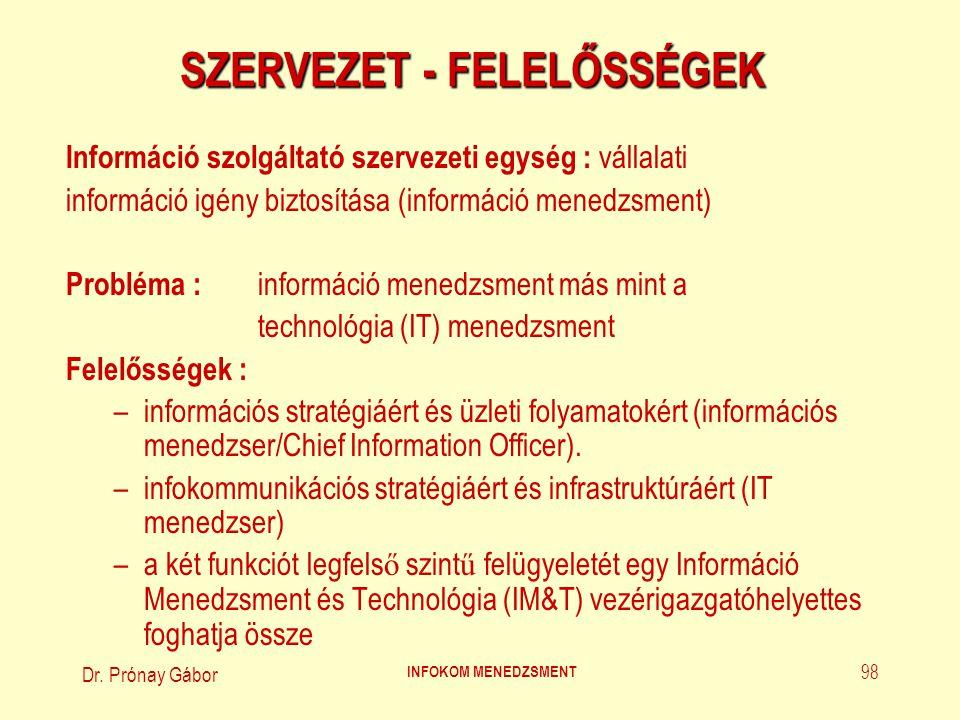 Dr. Prónay Gábor INFOKOM MENEDZSMENT 98 SZERVEZET - FELELŐSSÉGEK Információ szolgáltató szervezeti egység : vállalati információ igény biztosítása (in