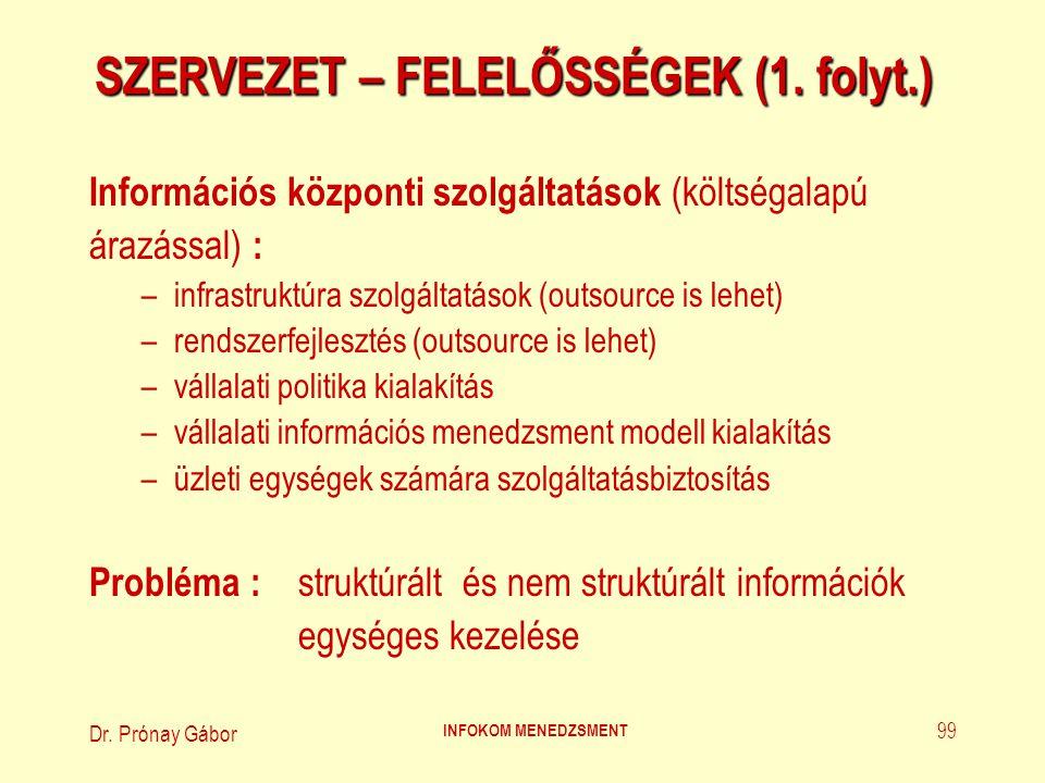 Dr. Prónay Gábor INFOKOM MENEDZSMENT 99 SZERVEZET – FELELŐSSÉGEK (1. folyt.) Információs központi szolgáltatások (költségalapú árazással) : –infrastru