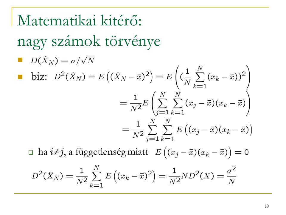 10 Matematikai kitérő: nagy számok törvénye biz:  ha i  j, a függetlenség miatt
