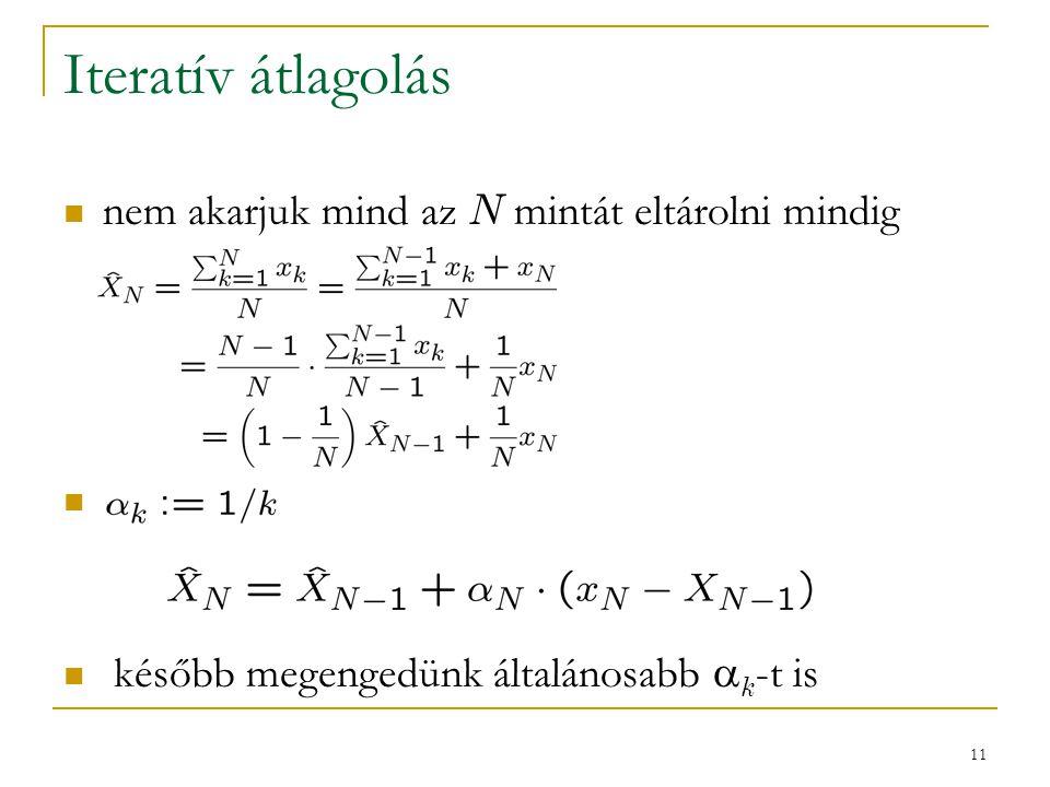 11 Iteratív átlagolás nem akarjuk mind az N mintát eltárolni mindig később megengedünk általánosabb  k -t is