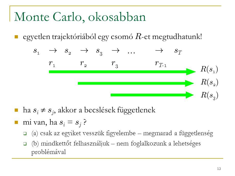 13 Monte Carlo, okosabban egyetlen trajektóriából egy csomó R -et megtudhatunk! ha s i  s j, akkor a becslések függetlenek mi van, ha s i = s j ?  (