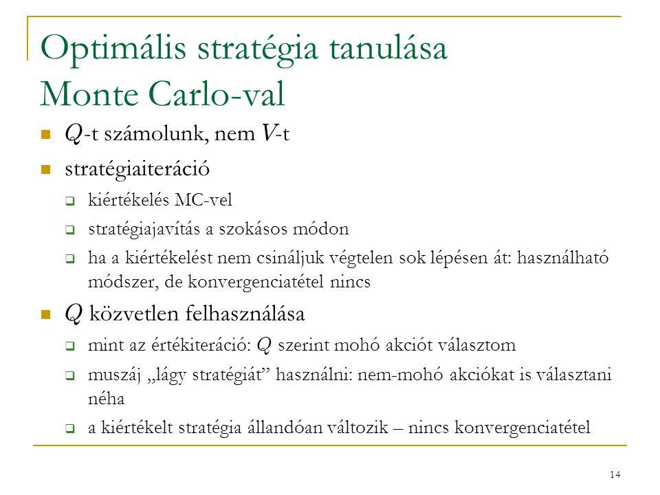 14 Optimális stratégia tanulása Monte Carlo-val Q -t számolunk, nem V -t stratégiaiteráció  kiértékelés MC-vel  stratégiajavítás a szokásos módon 