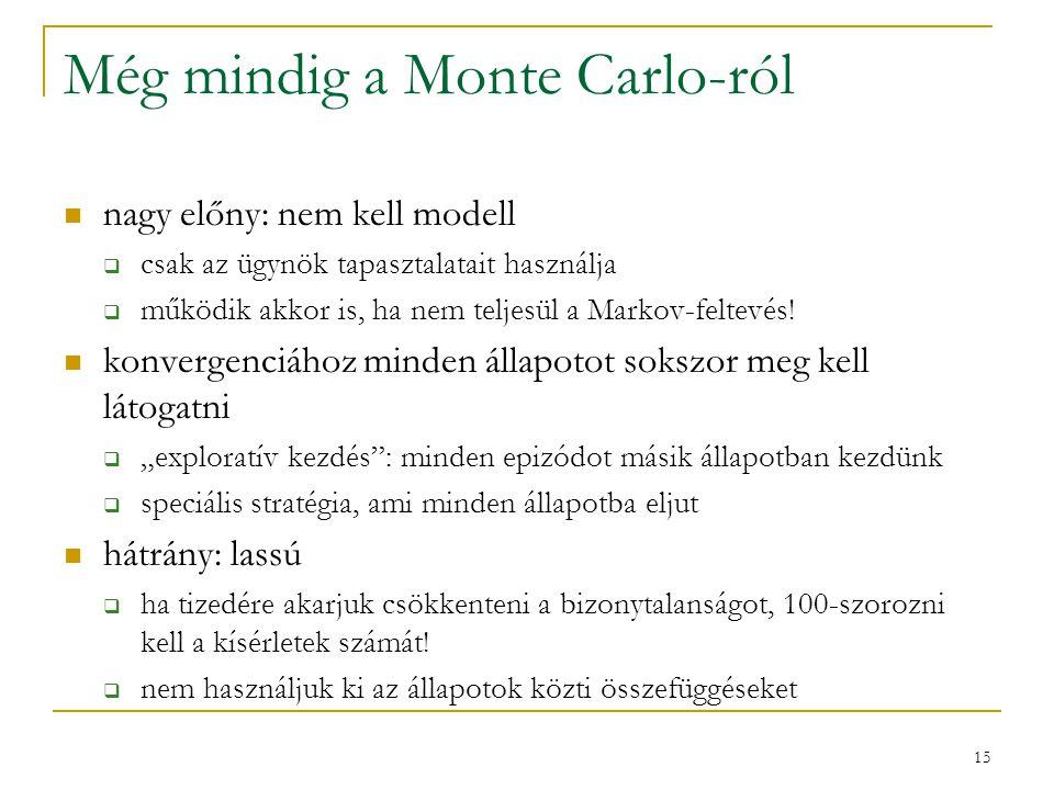15 Még mindig a Monte Carlo-ról nagy előny: nem kell modell  csak az ügynök tapasztalatait használja  működik akkor is, ha nem teljesül a Markov-fel