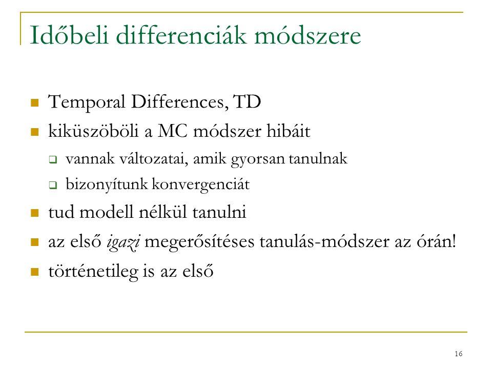 16 Időbeli differenciák módszere Temporal Differences, TD kiküszöböli a MC módszer hibáit  vannak változatai, amik gyorsan tanulnak  bizonyítunk kon
