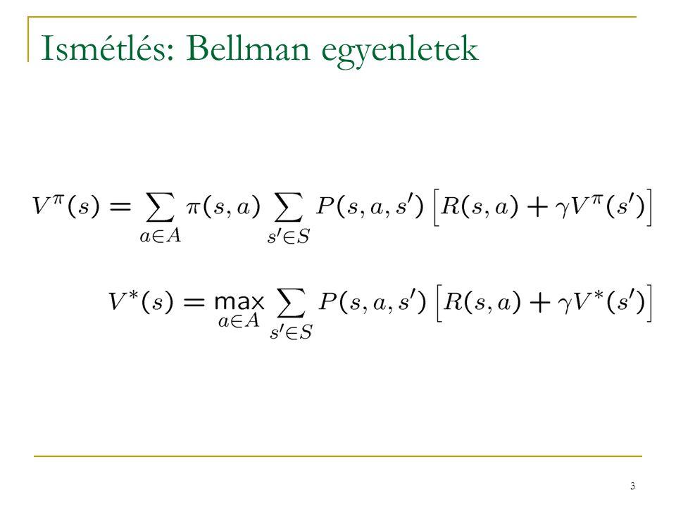 24 Összehasonlítás: DP, MC, TD mindegyik valamilyen becslést használ V  -re: DP:  a Bellman-fixpontegyenletből származik  a várható értéket a modell alapján pontosan számoljuk TD:  a várható értéket mintavételezzük  a mintavétel zajos, ezért csak  -nyi mértékben vesszük figyelembe MC:  a várható értéket mintavételezzük  a mintavétel zajos, ezért csak  -nyi mértékben vesszük figyelembe