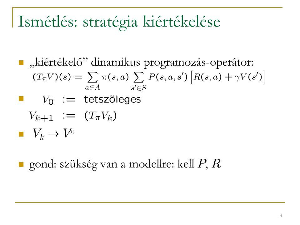 """4 Ismétlés: stratégia kiértékelése """"kiértékelő"""" dinamikus programozás-operátor: V k ! V  gond: szükség van a modellre: kell P, R"""