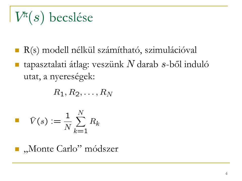"""6 V  (s) becslése R(s) modell nélkül számítható, szimulációval tapasztalati átlag: veszünk N darab s -ből induló utat, a nyereségek: """"Monte Carlo"""" mó"""