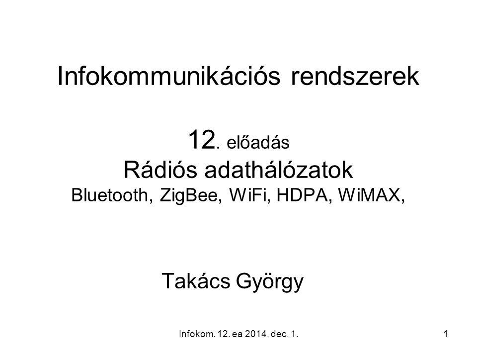 Infokom. 12. ea 2014. dec. 1.1 Infokommunikációs rendszerek 12. előadás Rádiós adathálózatok Bluetooth, ZigBee, WiFi, HDPA, WiMAX, Takács György