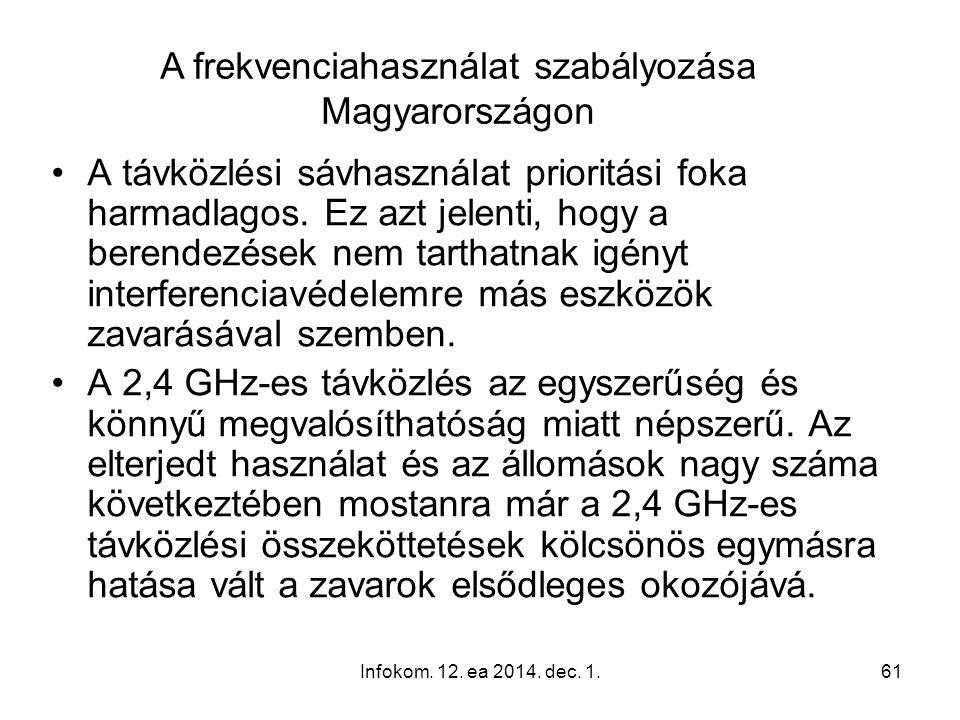 Infokom. 12. ea 2014. dec. 1.61 A távközlési sávhasználat prioritási foka harmadlagos. Ez azt jelenti, hogy a berendezések nem tarthatnak igényt inter