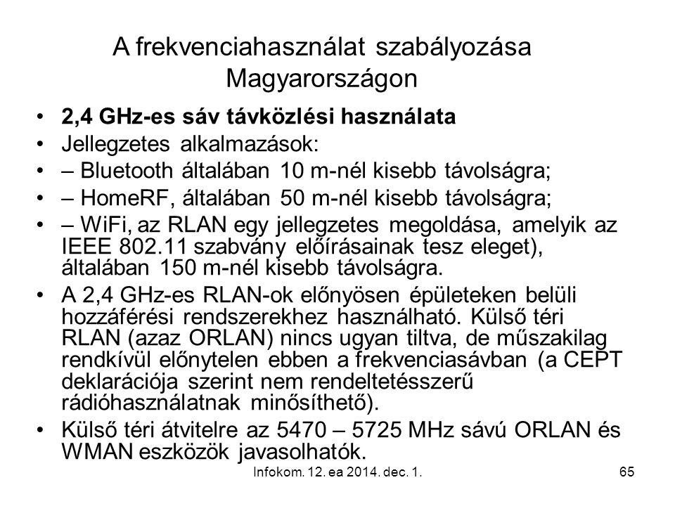 Infokom. 12. ea 2014. dec. 1.65 2,4 GHz-es sáv távközlési használata Jellegzetes alkalmazások: – Bluetooth általában 10 m-nél kisebb távolságra; – Hom