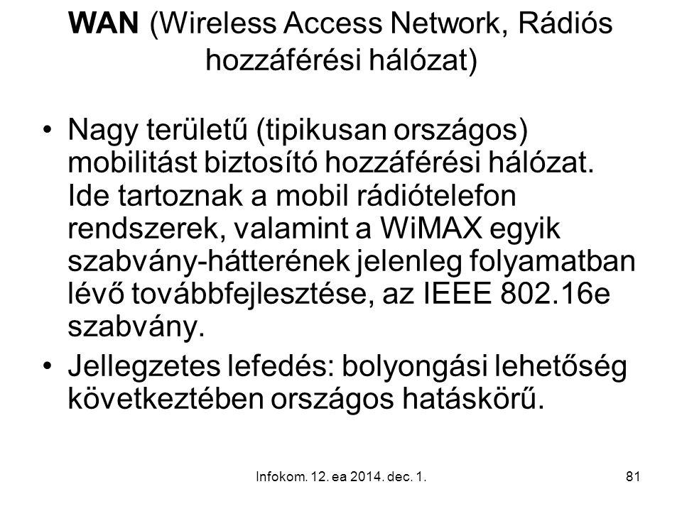 Infokom. 12. ea 2014. dec. 1.81 WAN (Wireless Access Network, Rádiós hozzáférési hálózat) Nagy területű (tipikusan országos) mobilitást biztosító hozz