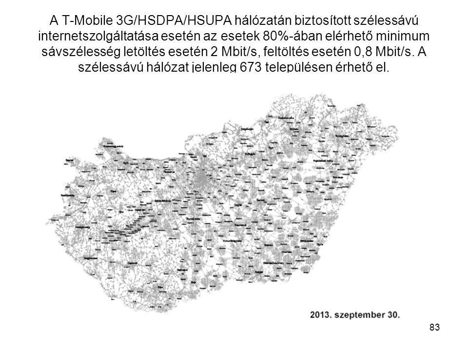 A T-Mobile 3G/HSDPA/HSUPA hálózatán biztosított szélessávú internetszolgáltatása esetén az esetek 80%-ában elérhető minimum sávszélesség letöltés eset