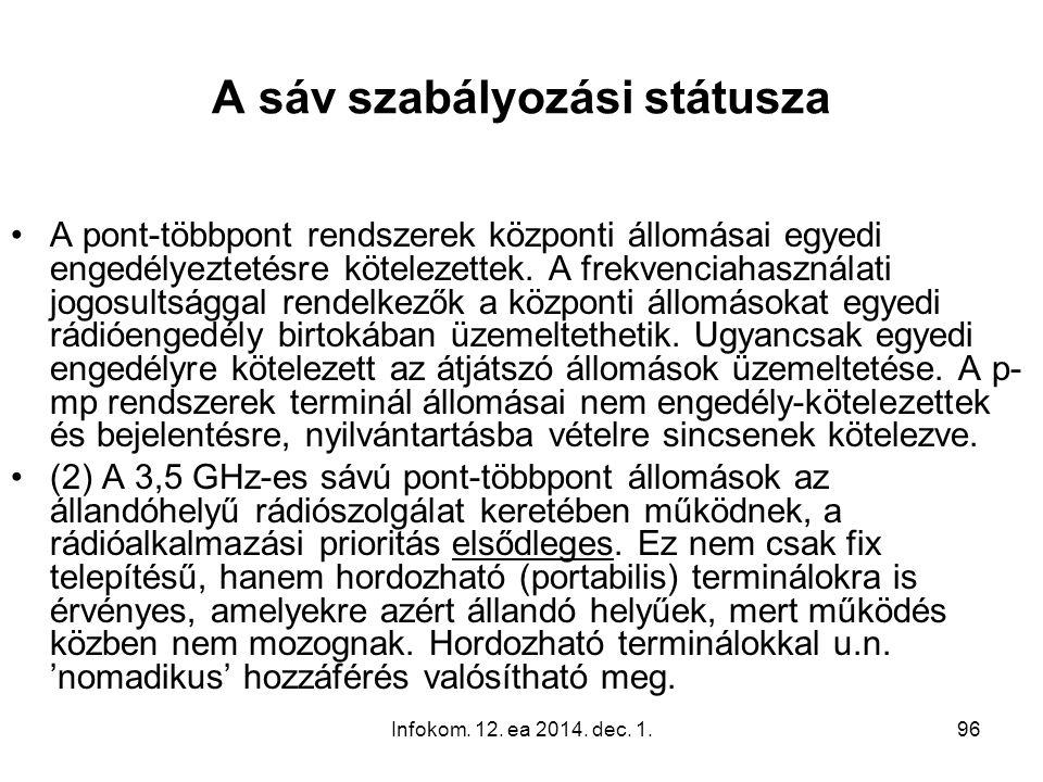 Infokom. 12. ea 2014. dec. 1.96 A sáv szabályozási státusza A pont-többpont rendszerek központi állomásai egyedi engedélyeztetésre kötelezettek. A fre