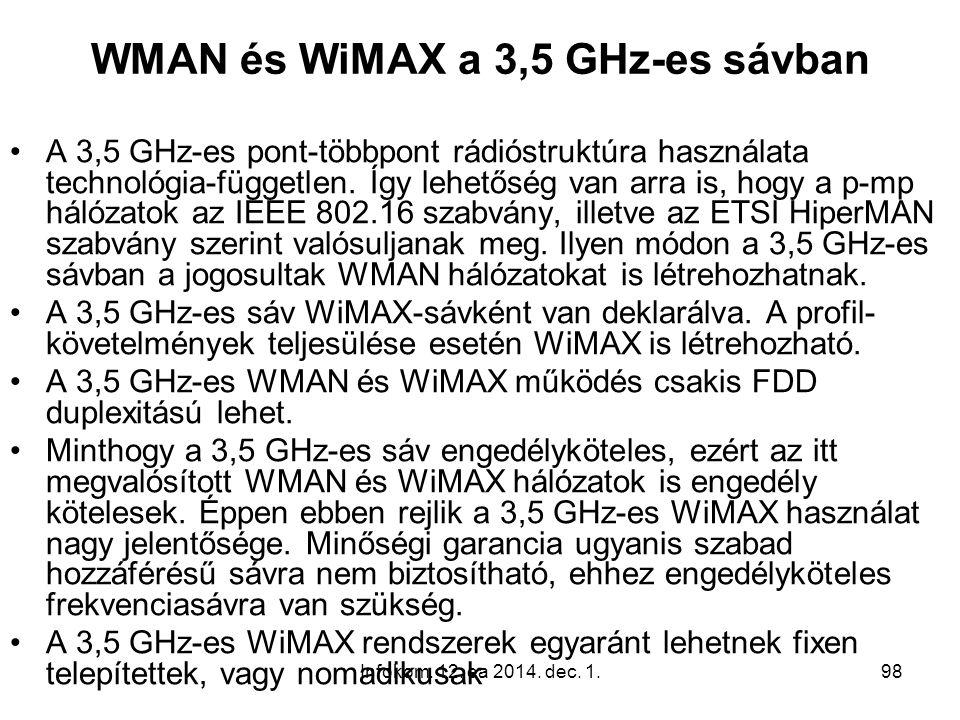 Infokom. 12. ea 2014. dec. 1.98 WMAN és WiMAX a 3,5 GHz-es sávban A 3,5 GHz-es pont-többpont rádióstruktúra használata technológia-független. Így lehe