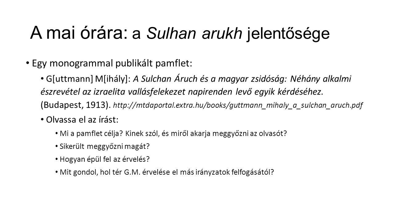 A mai órára: a Sulhan arukh jelentősége Egy monogrammal publikált pamflet: G[uttmann] M[ihály]: A Sulchan Áruch és a magyar zsidóság: Néhány alkalmi észrevétel az izraelita vallásfelekezet napirenden levő egyik kérdéséhez.
