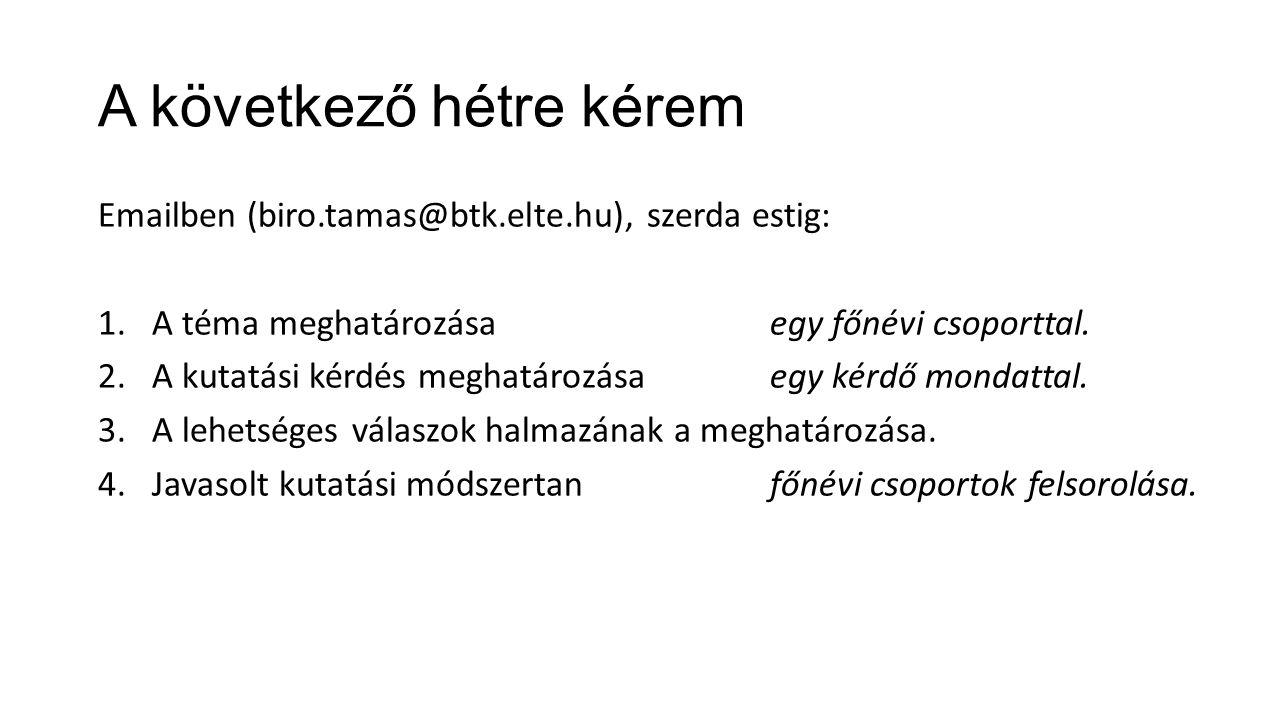 A következő hétre kérem Emailben (biro.tamas@btk.elte.hu), szerda estig: 1.A téma meghatározása egy főnévi csoporttal.