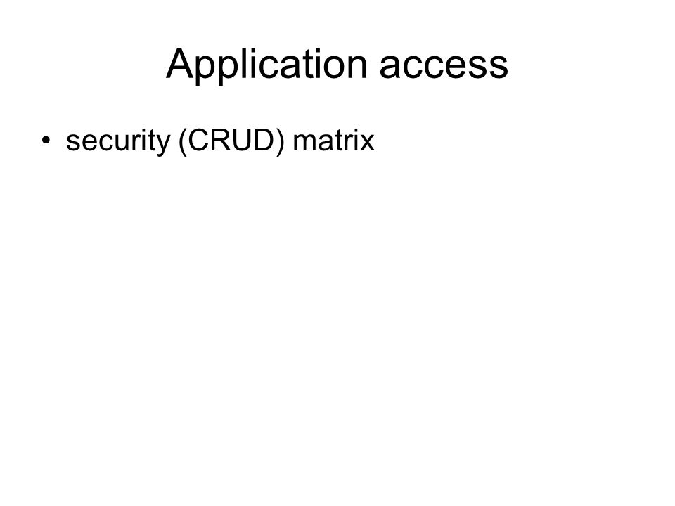 Application access security (CRUD) matrix