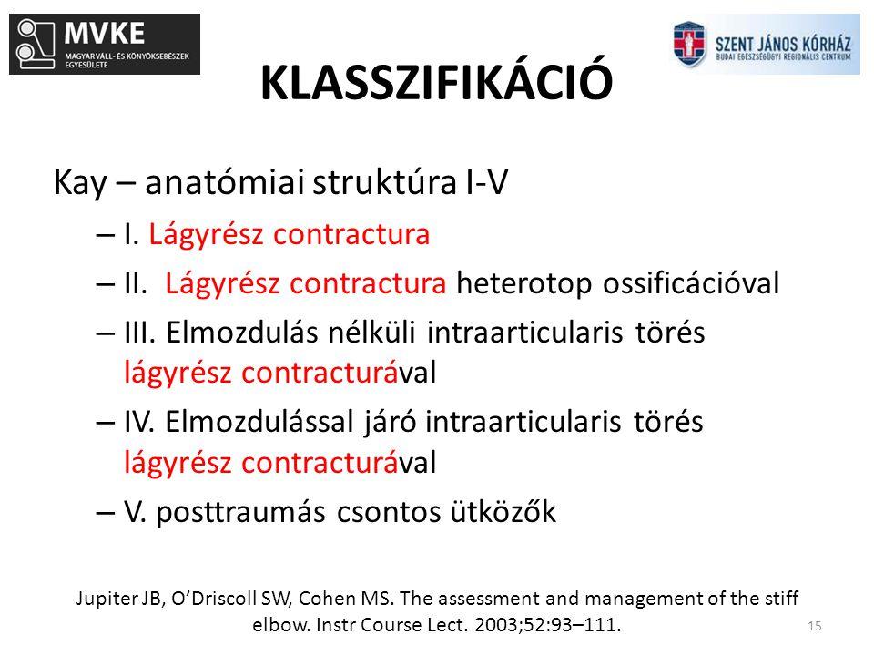 KLASSZIFIKÁCIÓ 15 Kay – anatómiai struktúra I-V – I. Lágyrész contractura – II. Lágyrész contractura heterotop ossificációval – III. Elmozdulás nélkül
