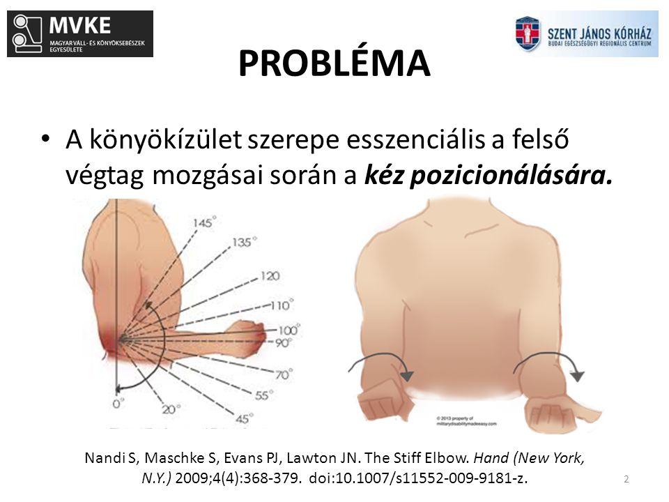 PROBLÉMA A könyökízület szerepe esszenciális a felső végtag mozgásai során a kéz pozicionálására. Nandi S, Maschke S, Evans PJ, Lawton JN. The Stiff E