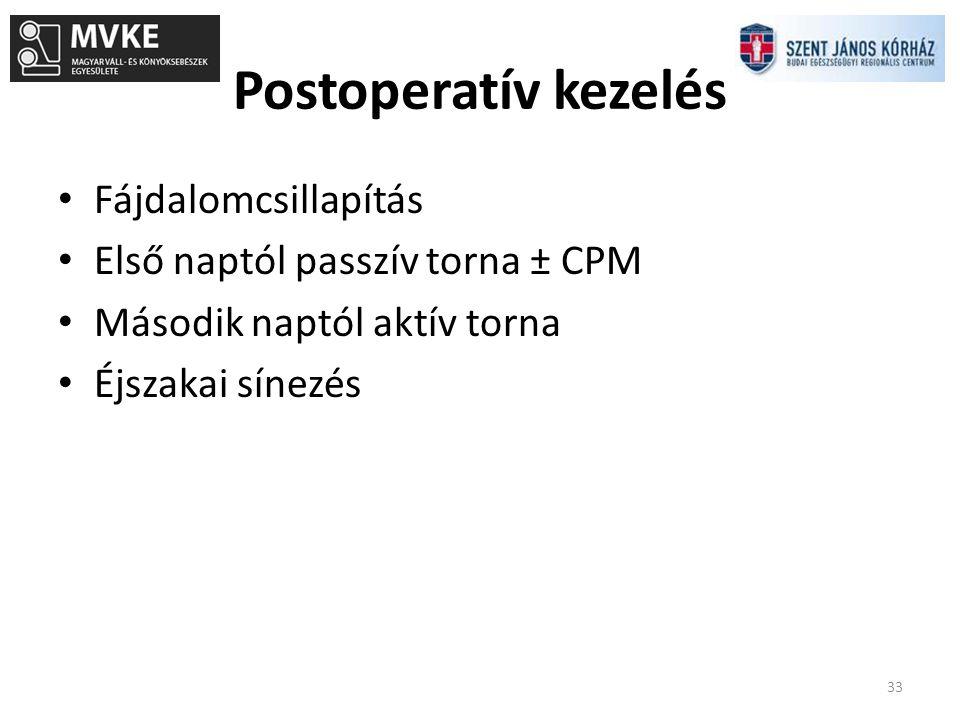 Postoperatív kezelés 33 Fájdalomcsillapítás Első naptól passzív torna ± CPM Második naptól aktív torna Éjszakai sínezés