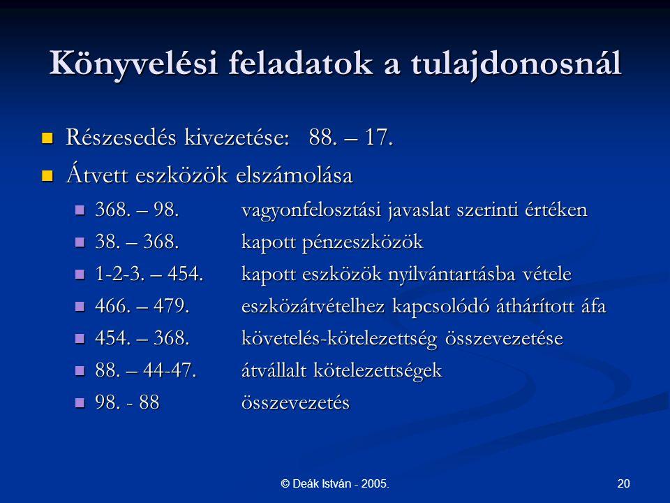 20© Deák István - 2005.Könyvelési feladatok a tulajdonosnál Részesedés kivezetése:88.