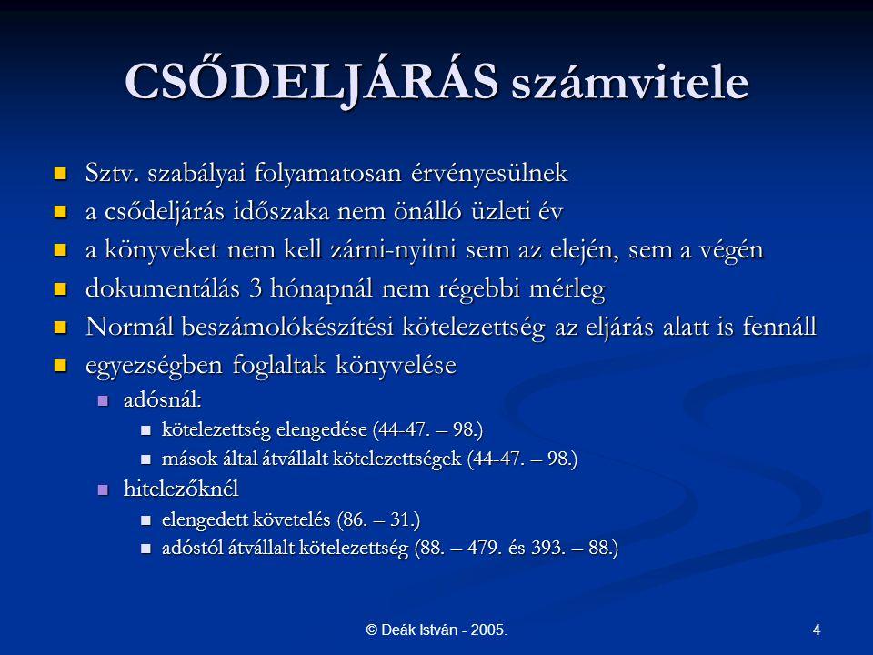 4© Deák István - 2005.CSŐDELJÁRÁS számvitele Sztv.