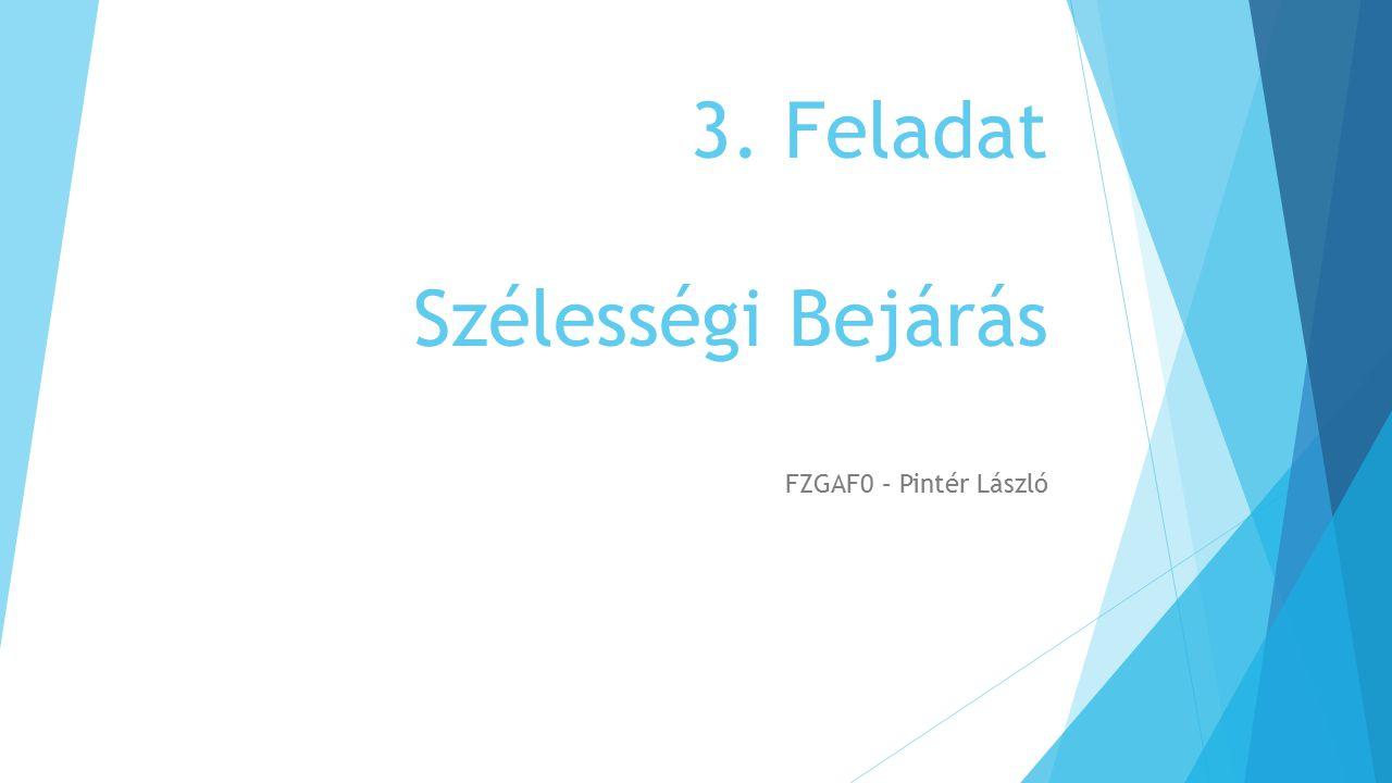 3. Feladat Szélességi Bejárás FZGAF0 – Pintér László