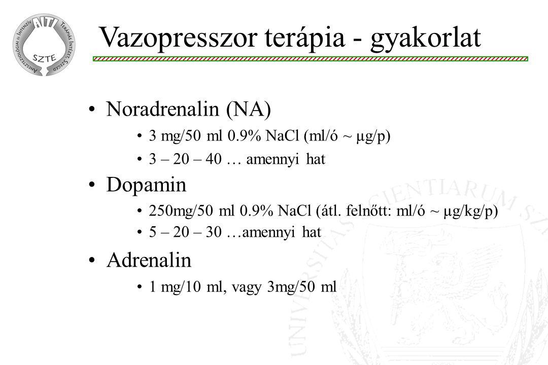 Vazopresszor terápia - gyakorlat Noradrenalin (NA) 3 mg/50 ml 0.9% NaCl (ml/ó ~ µg/p) 3 – 20 – 40 … amennyi hat Dopamin 250mg/50 ml 0.9% NaCl (átl. fe