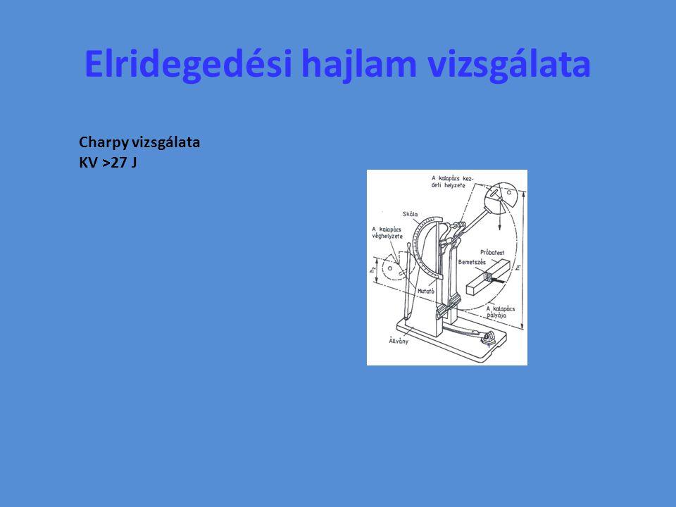 Elridegedési hajlam vizsgálata Charpy vizsgálata KV >27 J