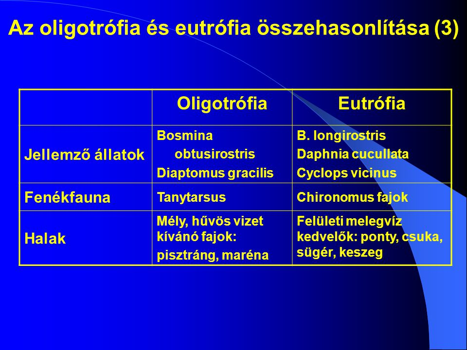Az oligotrófia és eutrófia összehasonlítása (3) OligotrófiaEutrófia Jellemző állatok Bosmina obtusirostris Diaptomus gracilis B.