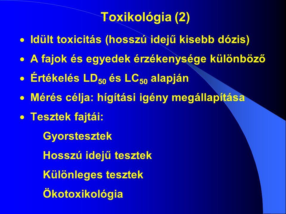 Toxikológia (2)  Idült toxicitás (hosszú idejű kisebb dózis)  A fajok és egyedek érzékenysége különböző  Értékelés LD 50 és LC 50 alapján  Mérés célja: hígítási igény megállapítása  Tesztek fajtái: Gyorstesztek Hosszú idejű tesztek Különleges tesztek Ökotoxikológia
