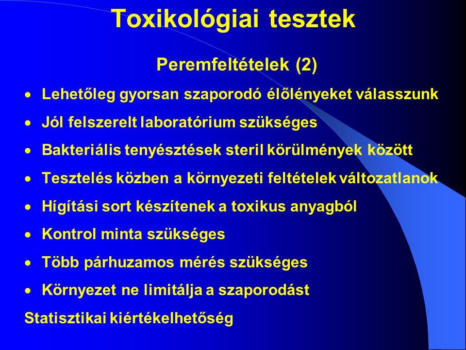 Toxikológiai tesztek Peremfeltételek (2)  Lehetőleg gyorsan szaporodó élőlényeket válasszunk  Jól felszerelt laboratórium szükséges  Bakteriális tenyésztések steril körülmények között  Tesztelés közben a környezeti feltételek változatlanok  Hígítási sort készítenek a toxikus anyagból  Kontrol minta szükséges  Több párhuzamos mérés szükséges  Környezet ne limitálja a szaporodást Statisztikai kiértékelhetőség